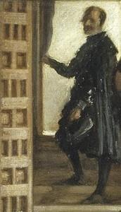 Las Meninas: de man in de deuropening rechtsboven