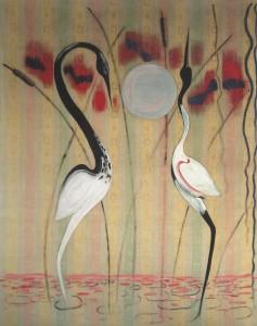 Het hogere wezen beval: flamingo's schilderen